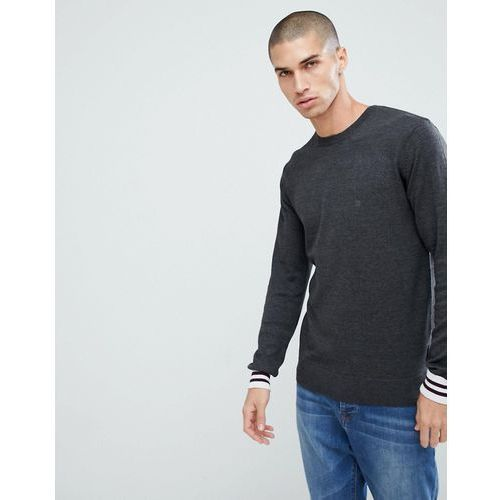 French Connection Crew Neck Knitted Jumper with Contrast Cuff - Grey