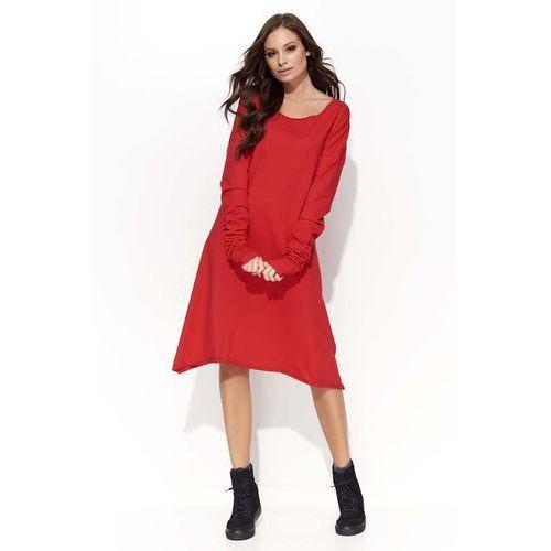 Czerwona Sukienka Trapezowa z Marszczonym Rękawem, DF24re
