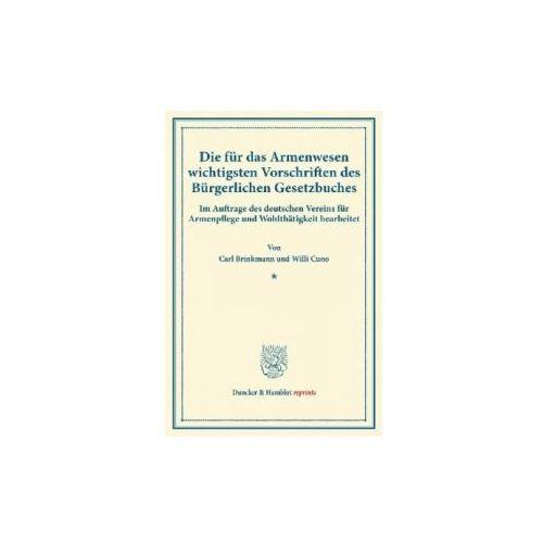 Die für das Armenwesen wichtigsten Vorschriften des Bürgerlichen Gesetzbuches.