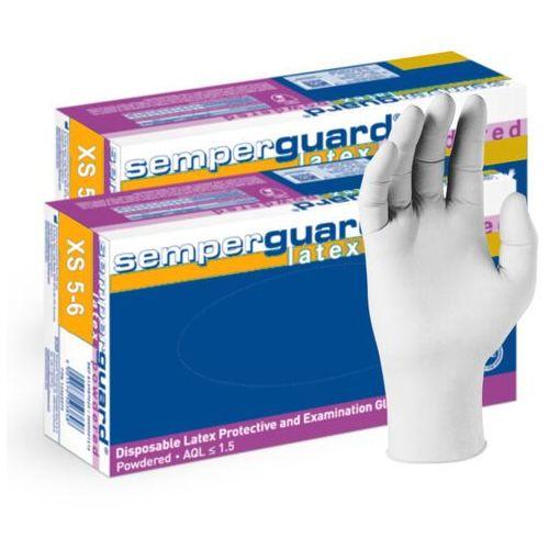 2 x Lateksowe rękawice ochronne Semperguard, pudrowane, białe 100 szt - roz. XS