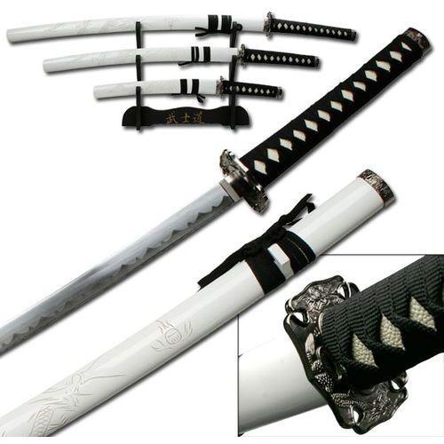 Usa Zestaw 3 mieczy samuraja ze stojakiem białe rzeźbione pochwy (yk-58wd4)