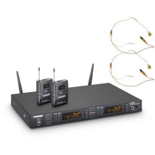 ws 1g8 bphh 2 mikrofon bezprzewodowy nagłowny, podwójny, kolor beżowy marki Ld systems