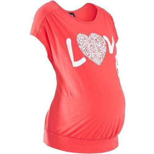 Shirt ciążowy z nadrukiem, krótki rękaw bonprix koralowy