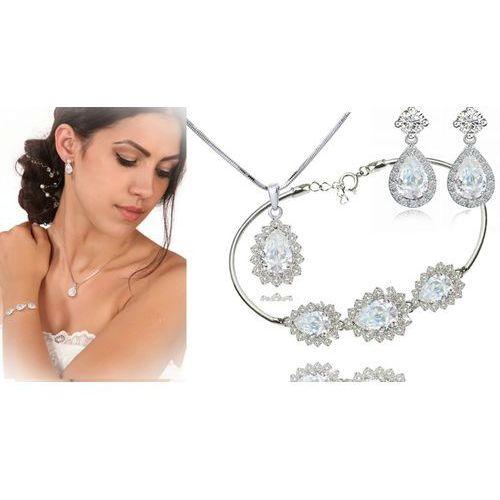 Kpl885 komplet ślubny, biżuteria ślubna z cyrkoniami b599/812 k599/545 n599.814