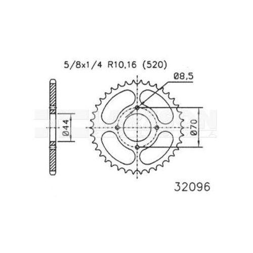 Zębatka tylna stalowa jt 50-32096-24, 24z, rozmiar 520 2302193 suzuki lt 80 marki Jt sprockets