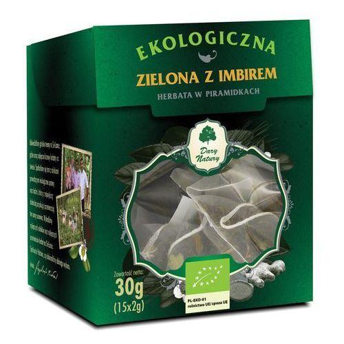 Dary natury - test Herbata zielona z imbirem piramidki bio (15 x 2 g) - dary natury (5902581617439)