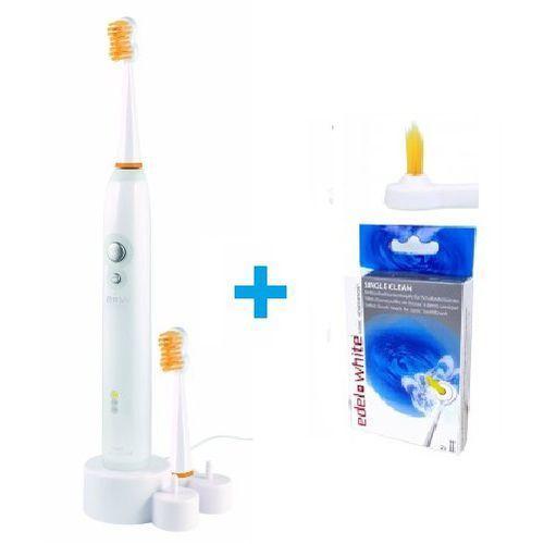 Zestaw szczoteczka soniczna  + 2 końcówki jednopęczkowe marki Edel white