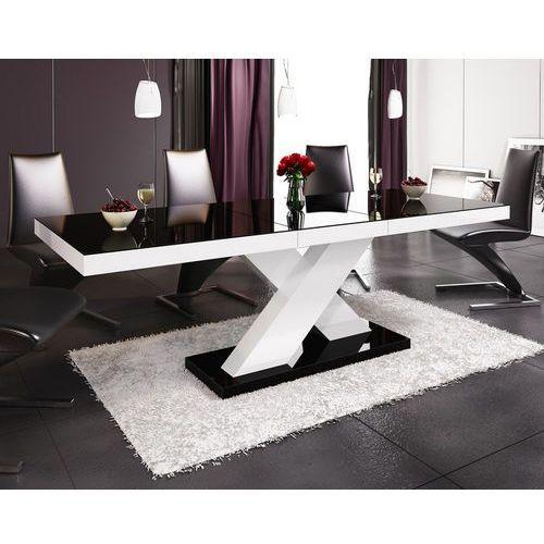 Stół rozkładany w wysokim połysku Xenon czarno-biały