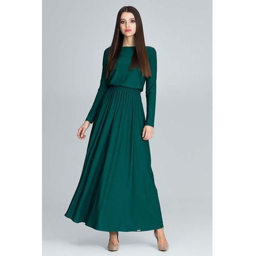 Zielona Zwiewna Sukienka Maxi z Podkreślona Talią, FM604ge