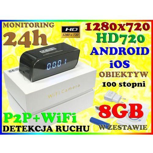 KAMERA ZEGAR WiFi SZEROKOKĄTNY OBIEKTYW 100 stopni 720p Android iOS + 8GB (kamera monitoringowa)