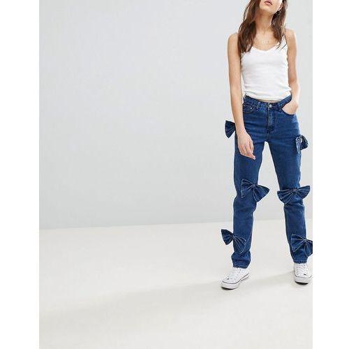Glamorous Mom Jeans With Bow Details - Blue, 1 rozmiar