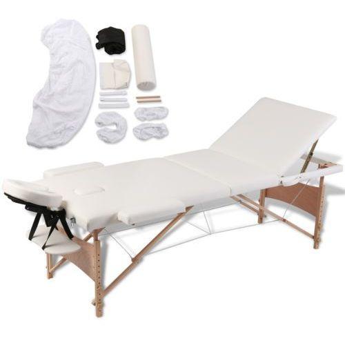 vidaXL Kremowy składany stół 3-strefowy do masażu + akcesoria z kategorii Akcesoria do rehabilitacji