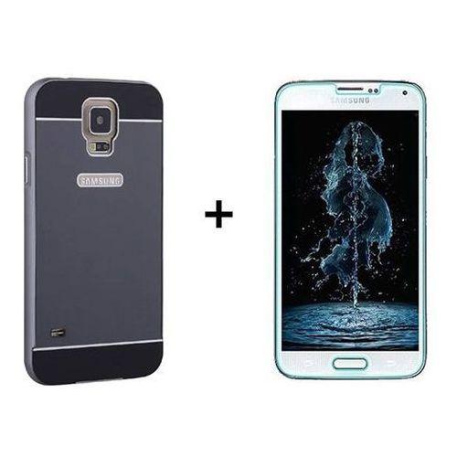 Zestaw | mirror bumper metal case czarny + szkło ochronne perfect glass | etui dla samsung galaxy s5 / s5 neo marki Mirror bumper / perfect glass