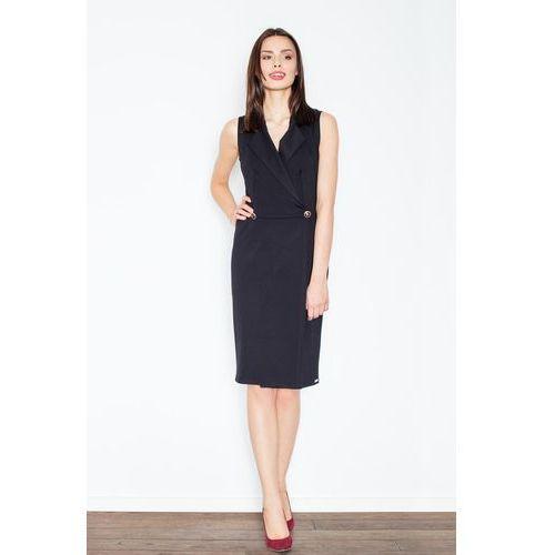 Czarna Kopertowa Midi Sukienka bez Rękawów, w 4 rozmiarach