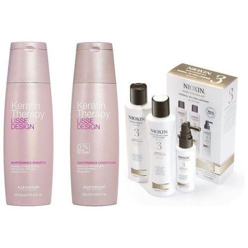 Alfaparf keratin therapy maintenance and system 3 | zestaw do włosów: szampon 250ml + odżywka podtrzymująca efekt wygładzenia 250ml + zestaw do włosów przerzedzonych, zniszczonych, cienkich i normalnych