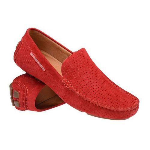 Mokasyny 3219-1025 czerwone męskie wsuwane - czerwony marki Badura