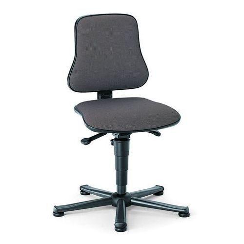 Obrotowe krzesło do pracy, siedzisko z obiciem z materiału, na ślizgaczach, zakr marki Bimos