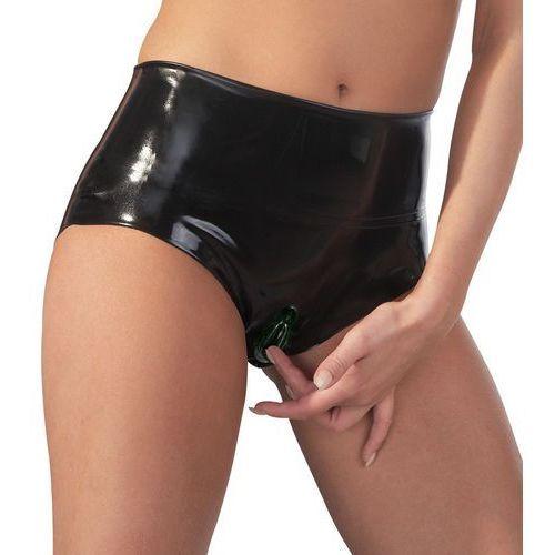 Lateksowe figi z waginą - Slip aus Latex mit integriertem Kondom, Rozmiar: XL, Kolor: Czarny (4024144352616)