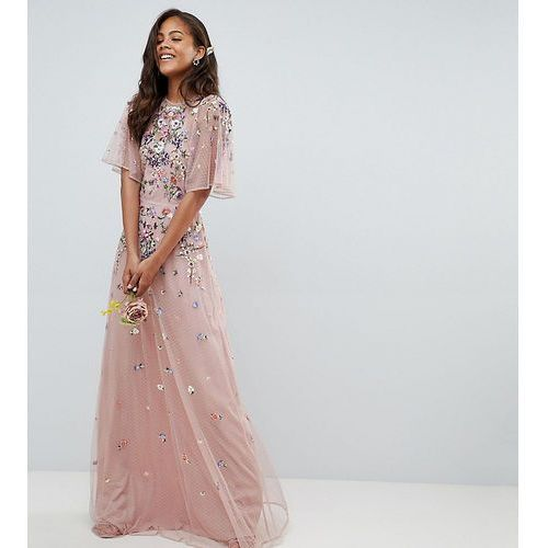 ASOS DESIGN Tall floral embroidered dobby mesh flutter sleeve maxi dress - Pink, kolor różowy