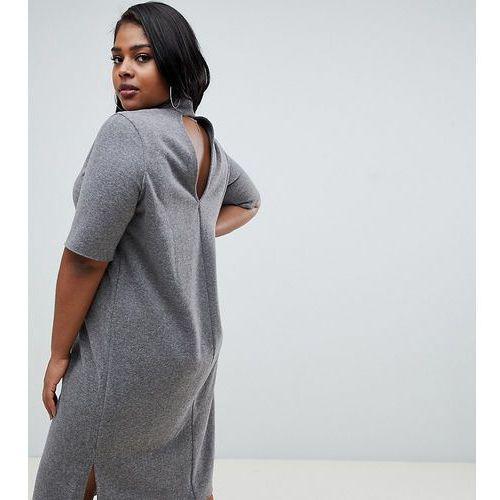 ASOS DESIGN Curve super soft midi t-shirt dress with open back - Grey