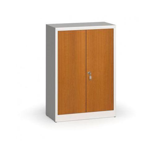 Szafy spawane z laminowanymi drzwiami, 1150 x 800 x 400 mm, RAL 7035/czereśnia
