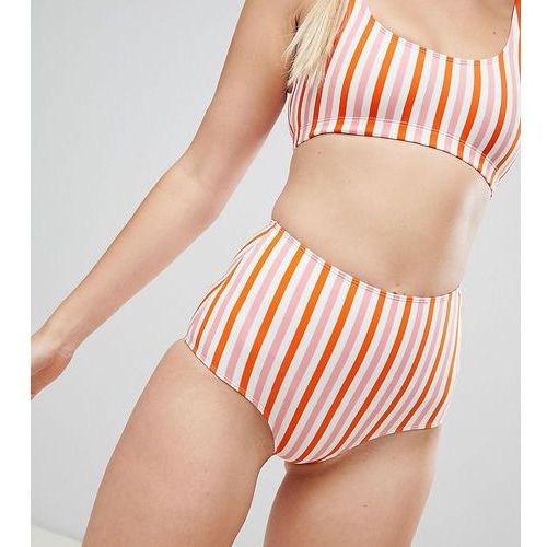 Monki multi stripe high waist bikini bottom - multi