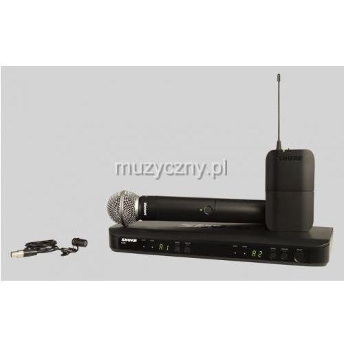 Shure BLX1288/WL185 SM Wireless mikrofon bezprzewodowy podwójny, krawatowy (lavalier) WL185 i doręczny SM58