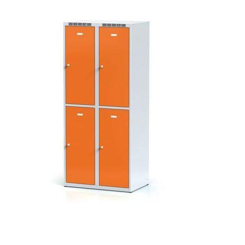 Metalowa szafka ubraniowa 4-drzwiowa, drzwi pomarańczowe, zamek cylindryczny marki Alfa 3