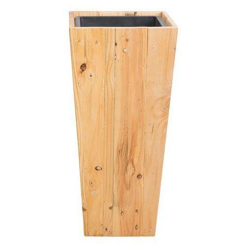 Beliani Doniczka drewniana prostokątna 28 x 28 x 60 cm larisa