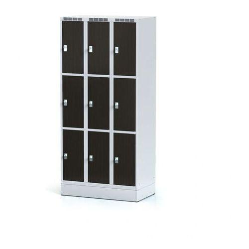 Szafka ubraniowa 9 drzwi 300x300 mm na cokole, drzwi lpw, wenge, zamek obrotowy marki Alfa 3
