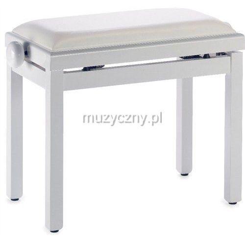 Stagg pb39 ława do pianina, biały połysk, siedzisko biały skaj