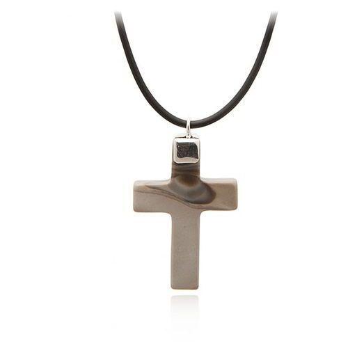 Krzyżyk srebrny z krzemienia pasiastego . ze sklepu AnKa Biżuteria