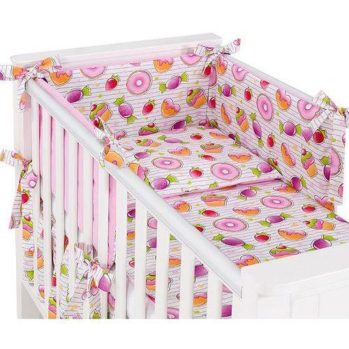 Mamo-tato dwustronna rozbieralna pościel 3-el babeczki / róż do łóżeczka 60x120cm
