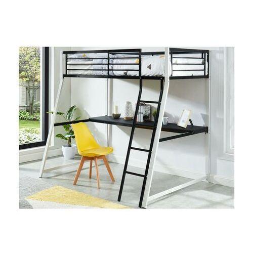 Łóżko antresola MALICIA - miejsce do spania 90 × 190 - Wbudowane biurko narożne - Kolor czarny i biały