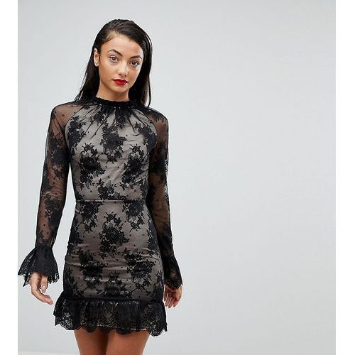 high neck open back lace mini dress - black marki Asos tall