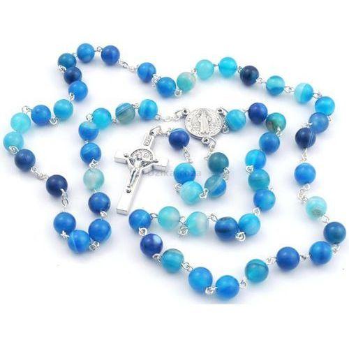 Różaniec z kamieni agat niebieski ze Św. Benedyktem