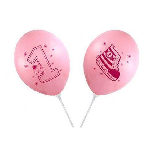 Balon różowy na patyku z jedynką I'm Number 1 - 37 cm - 1 szt.