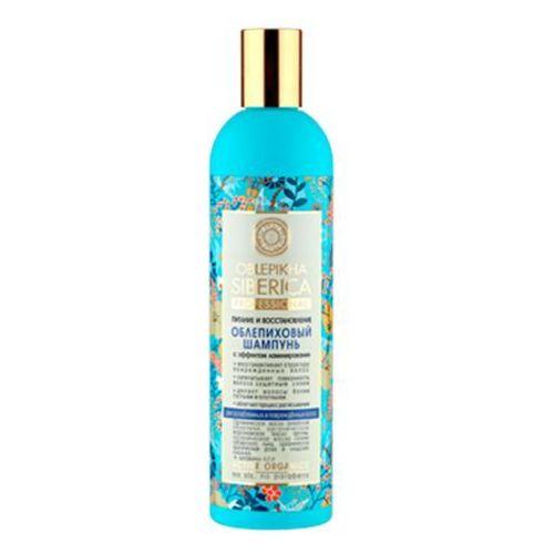 Professional - szampon rokitnikowy z efektem laminowania do włosów osłabionych i zniszczonych - wyciąg z igieł sosny syberyjskiej, cladonia śnieżna, olej arganowy, syberyjski len, olej z rokitnika ałtajskiego, produkt marki Natura Siberica