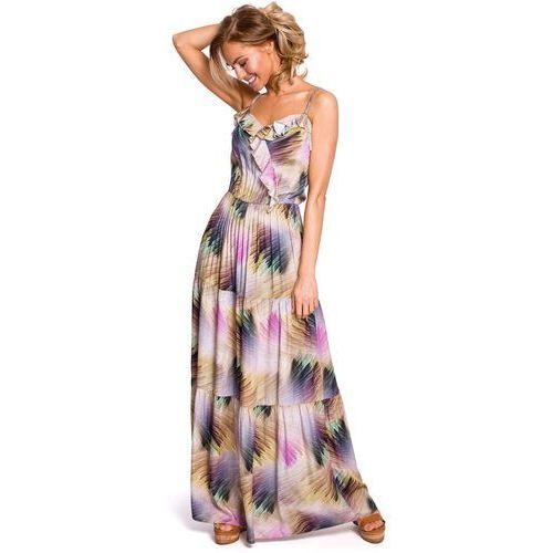 596bc5c30a Wzorzysta Maxi Sukienka na Cienkich Ramiączkach - Model 1 229