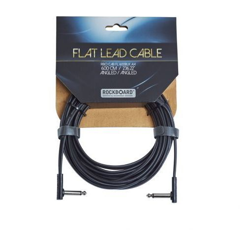 flat kabel instrumentalny, black, 600 cm, angled/angled marki Rockboard