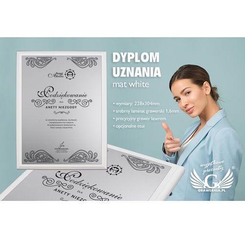 Grawernia.pl - grawerowanie i wycinanie laserem Dyplom uznania - srebrny laminat grawerski - podkład biały mat - ds017