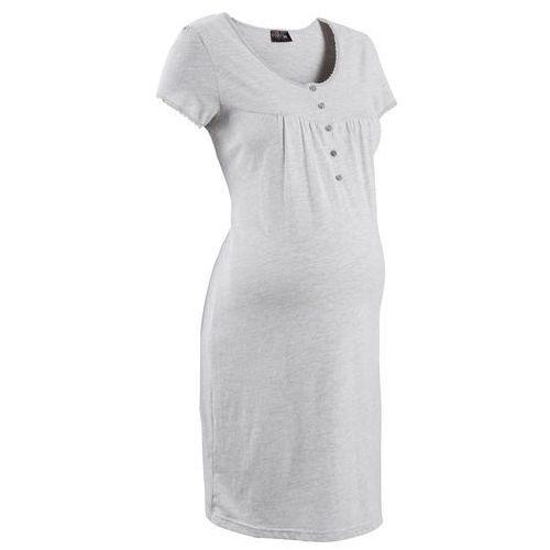 Koszula nocna ciążowa i do karmienia jasnoszary melanż, Bonprix, 36-54