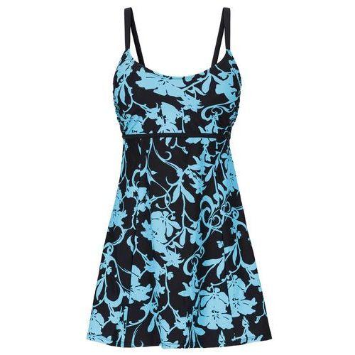 Bonprix Sukienka kąpielowa wyszczuplająca turkusowo-czarny