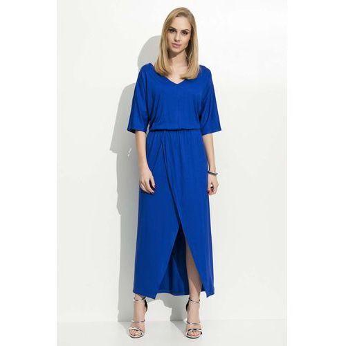 Chabrowa Maxi Sukienka z Zakładanym Dołem, kolor niebieski