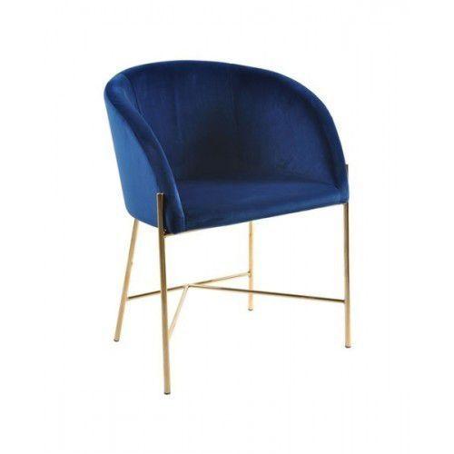 Fotel Nelson złota podstawa - niebieski, Nelson_fot_blue/gold