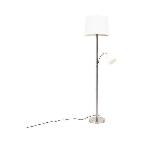 Klasyczna lampa podłogowa stal klosz biały z elastycznym ramieniem - retro marki Qazqa