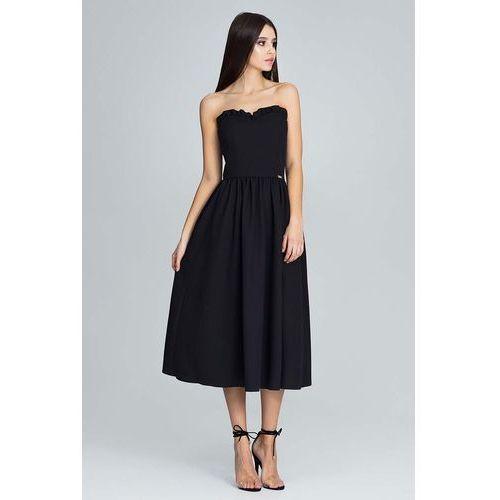 Czarna wieczorowa midi sukienka gorsetowa z falbankami, Figl, 36-42