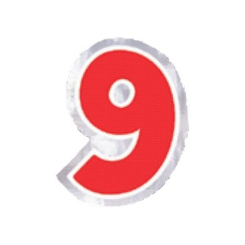 "Naklejka na balon, cyfra ""9"" - 6 szt"