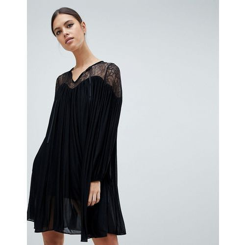 lassia drape dress with lace inserts - black marki French connection