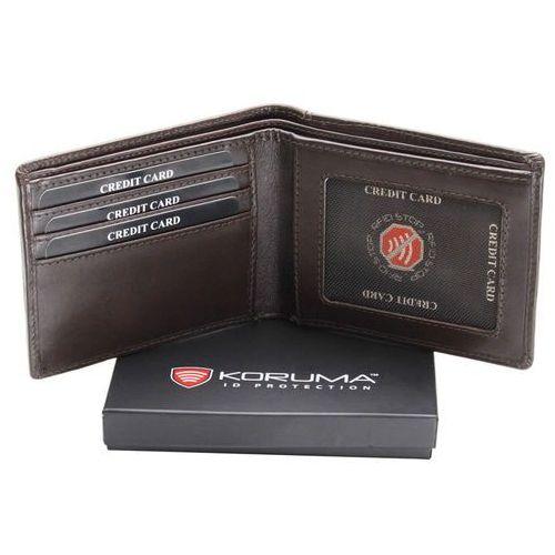 ✅ Ultra Cienki Skórzany Portfel Slim Zabezpieczenie Kart RFID Czarny - Brąz połysk (5903111394479)